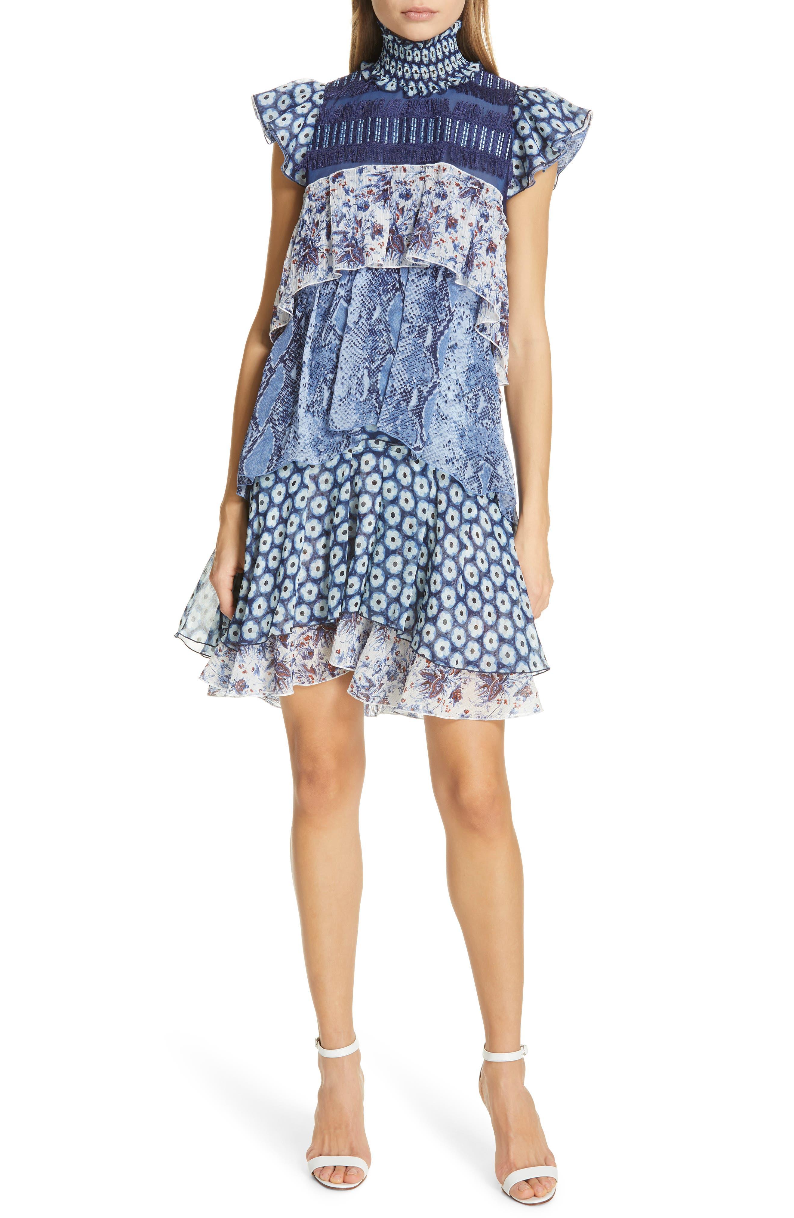 Dvf Matilda Pattern Mix Tiered Ruffle Silk Dress, Blue