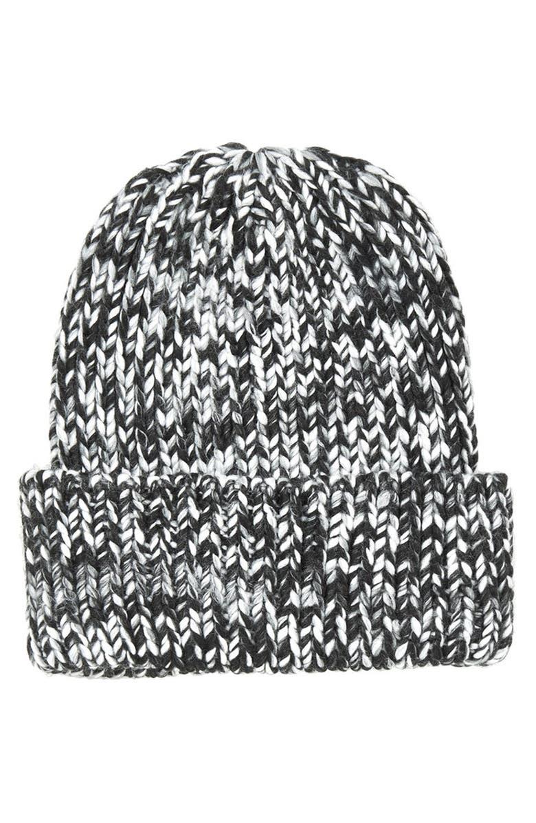 TOPSHOP Rib Knit Beanie, Main, color, 020