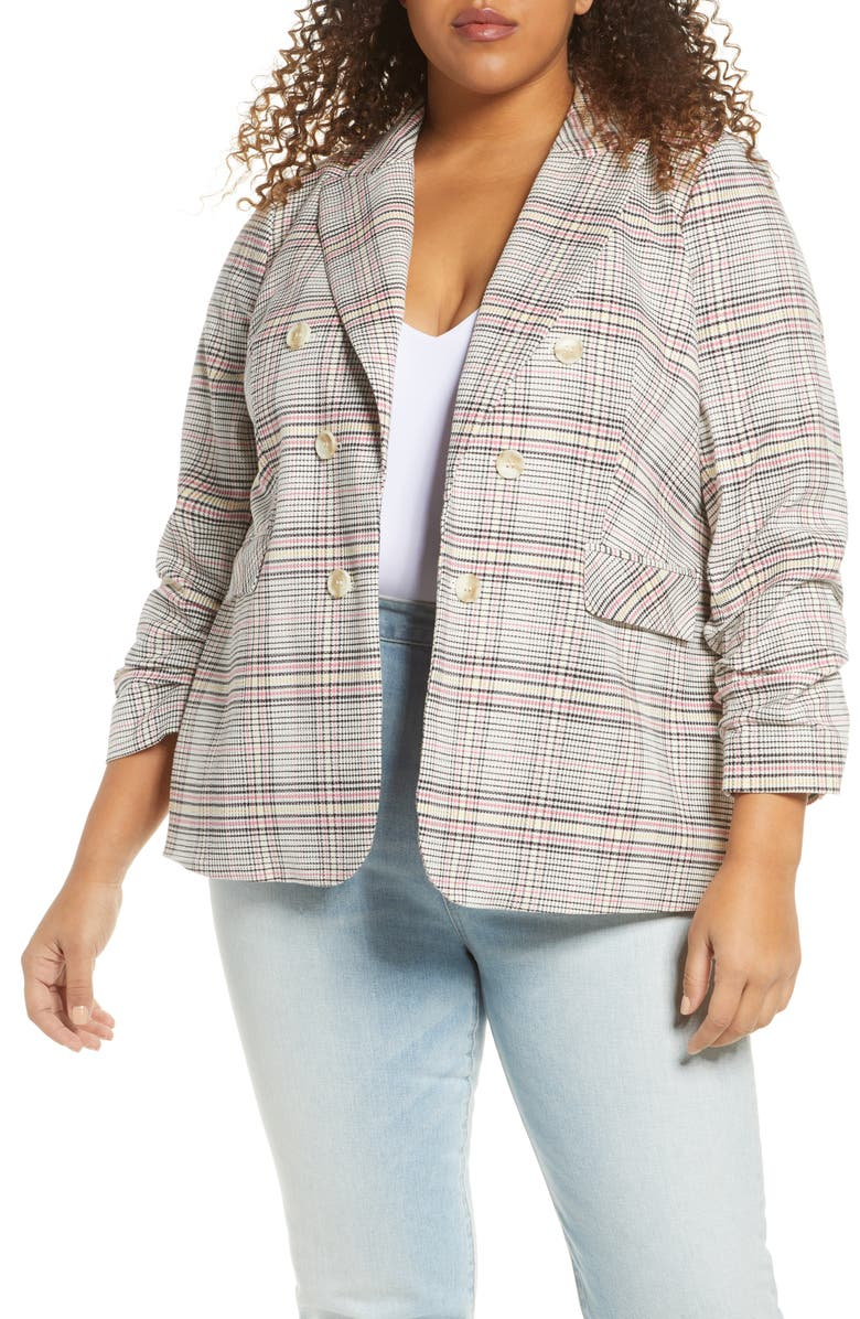 1.STATE Cassia Ruched Sleeve Plaid Blazer, Main, color, CHERRY BLOSSOM