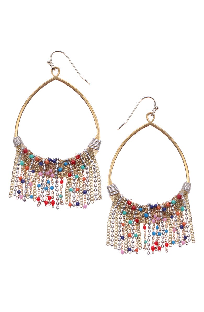 NAKAMOL DESIGN Chain Fringe Teardrop Earrings, Main, color, GOLD MIX