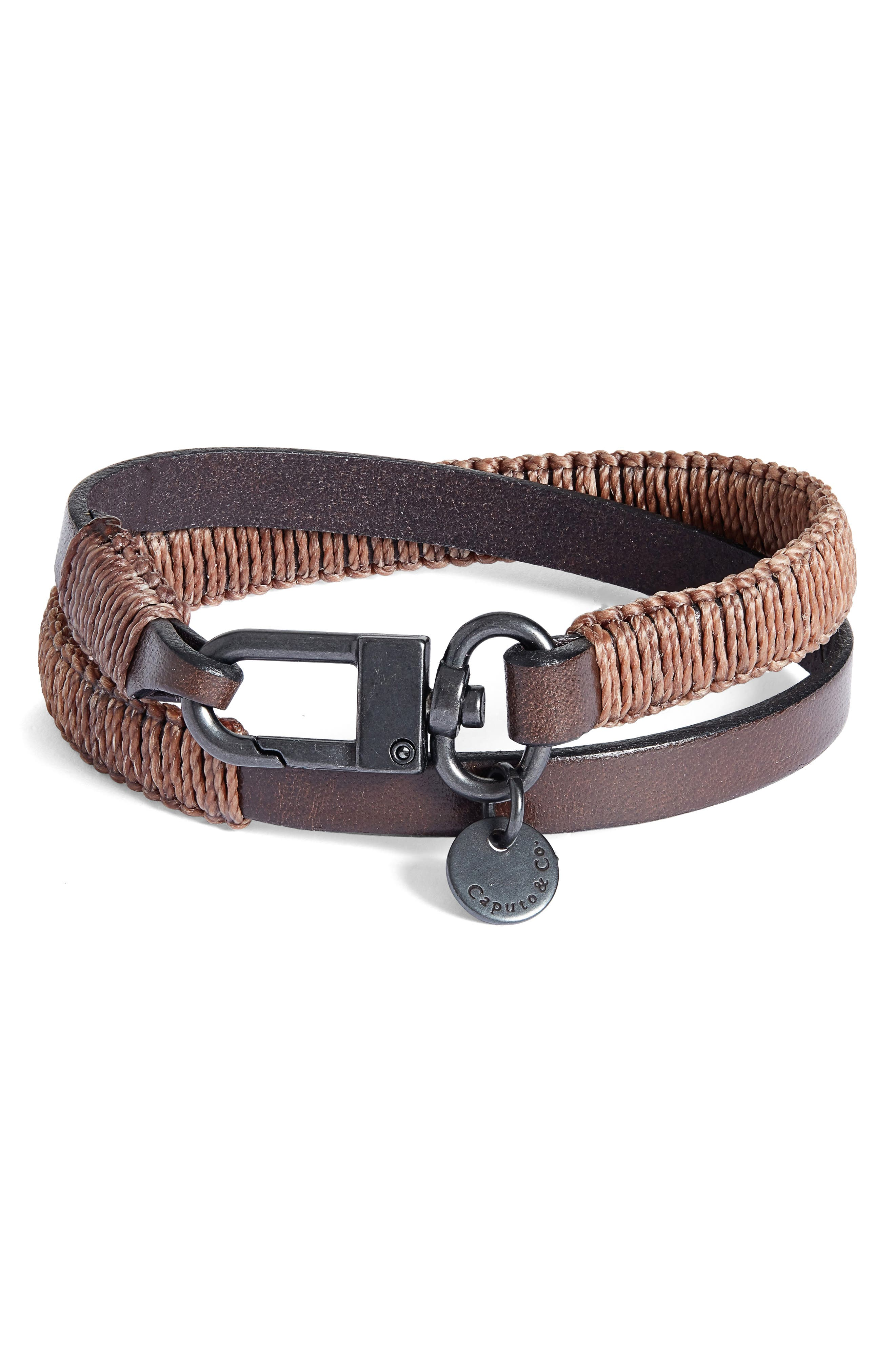 Men's Wide Hand-Knotted Leather Double Wrap Bracelet