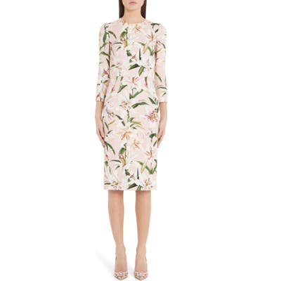Dolce & gabbana Lily Print Sheath Dress, 8 IT - Pink