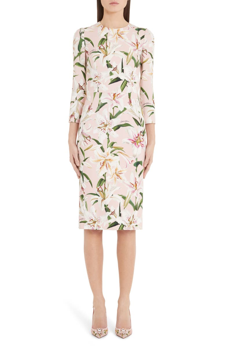 DOLCE&GABBANA Lily Print Sheath Dress, Main, color, PINK LILY