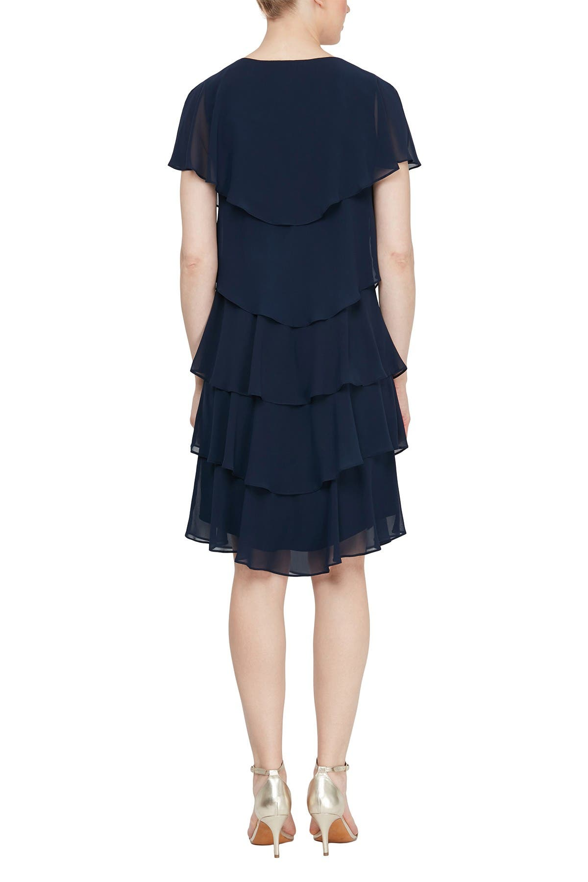 Image of SLNY Tiered Petal Chiffon Dress