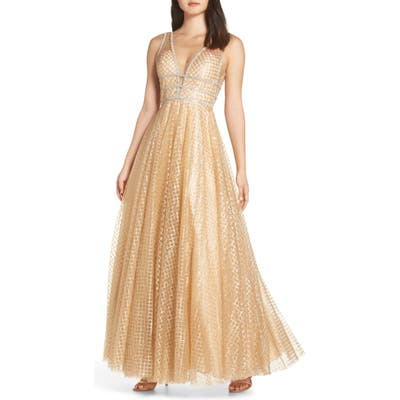 MAC Duggal Sequin Illusion Neck Gown, Yellow