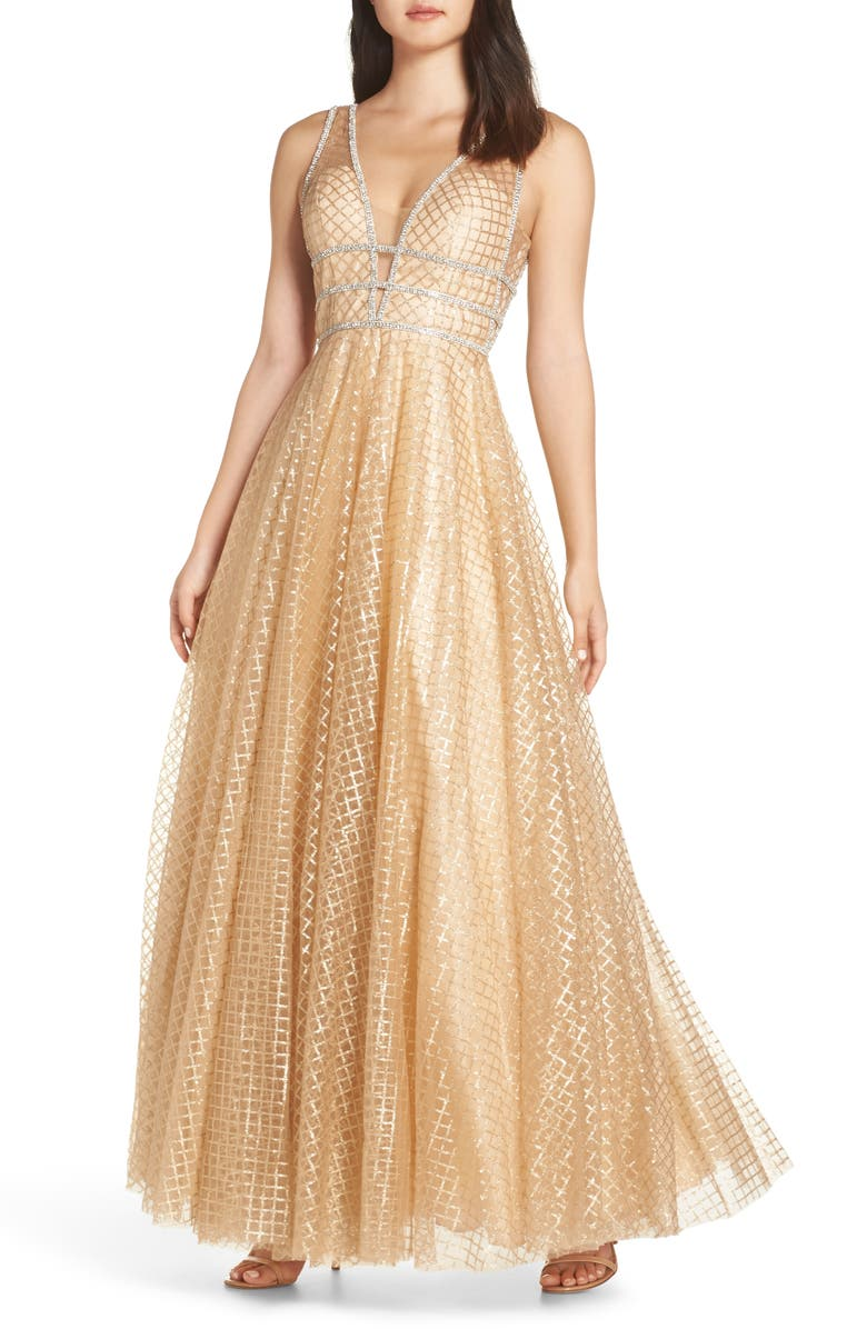 MAC DUGGAL Sequin Illusion Neck Gown, Main, color, GOLD
