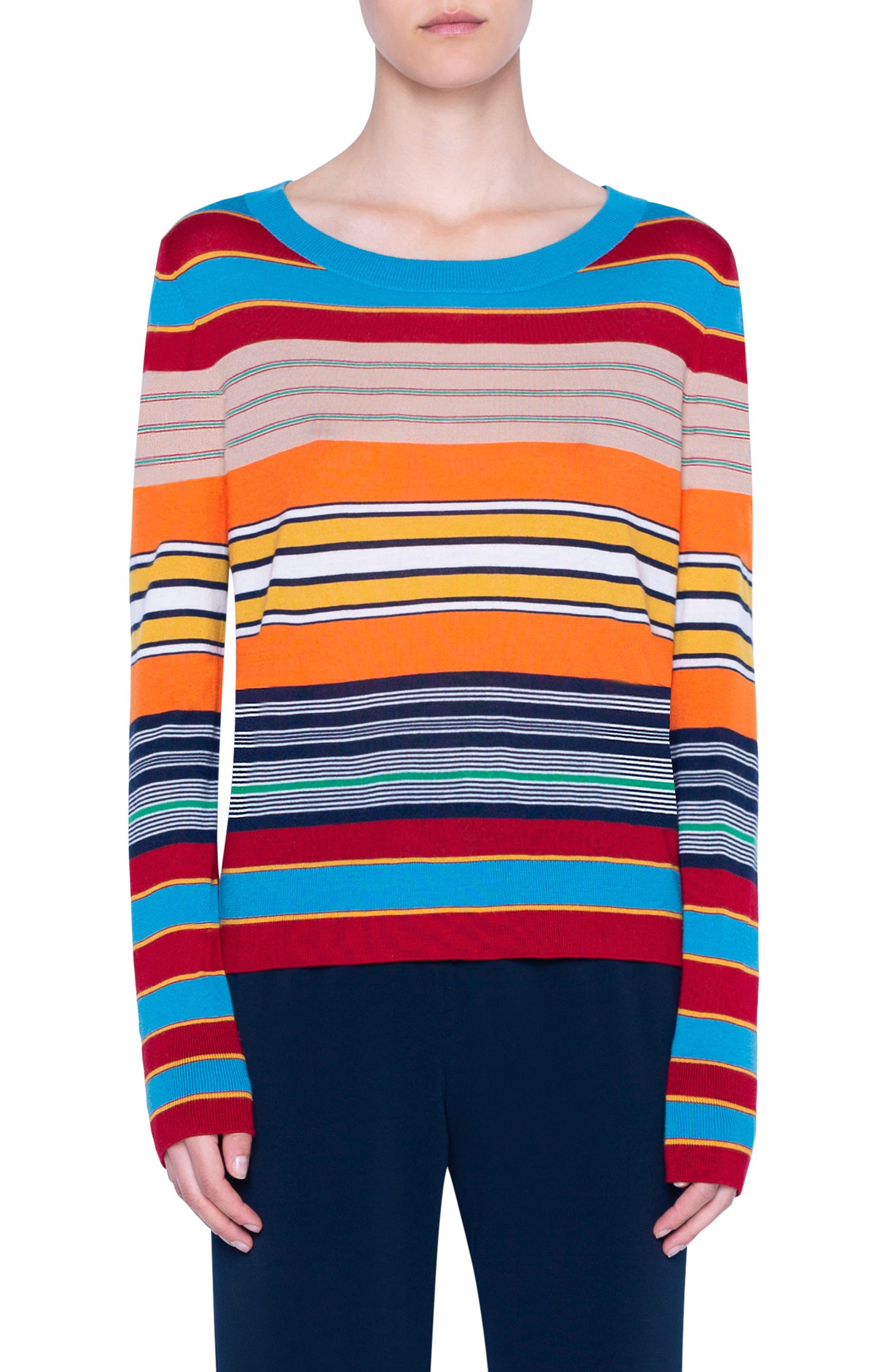 Akris Punto Stripe Rib Merino Wool Sweater Nordstrom Rack