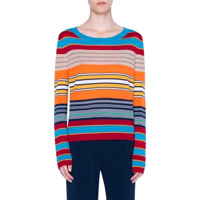 Akris Punto Stripe Rib Merino Wool Sweater, Blue