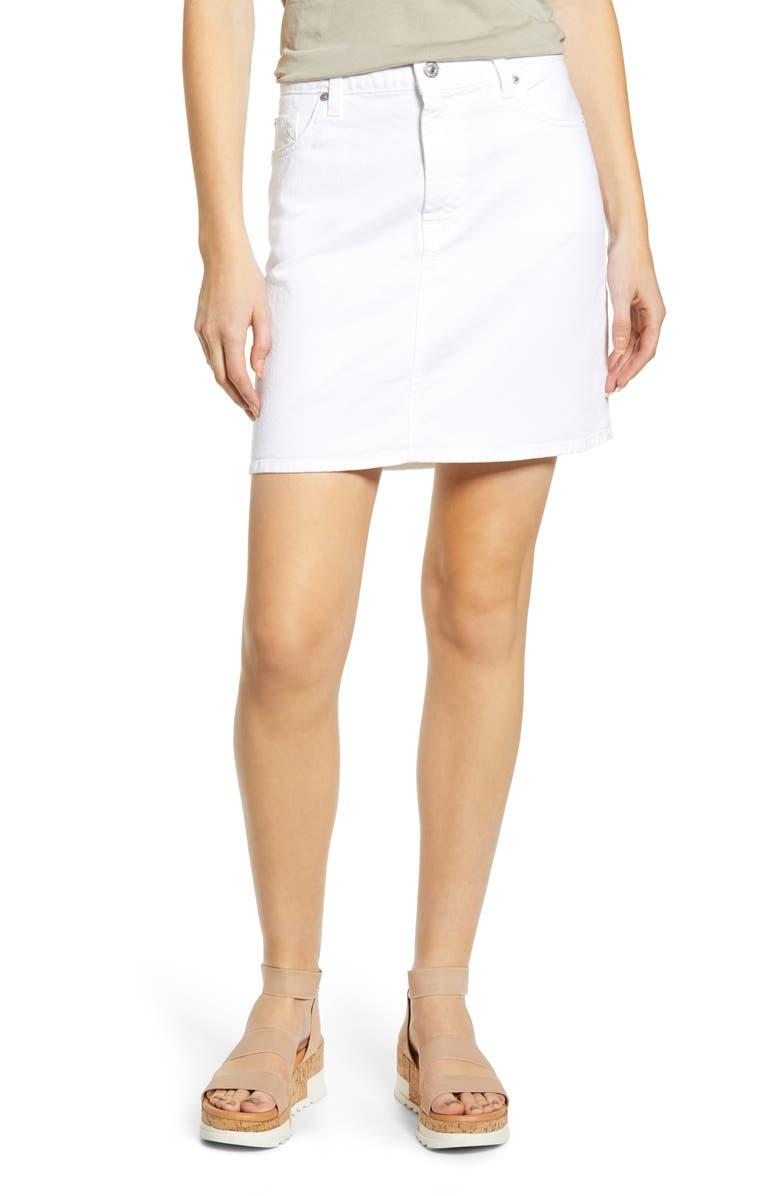 7 FOR ALL MANKIND<SUP>®</SUP> Denim Miniskirt, Main, color, WHITE RUNWAY DENIM