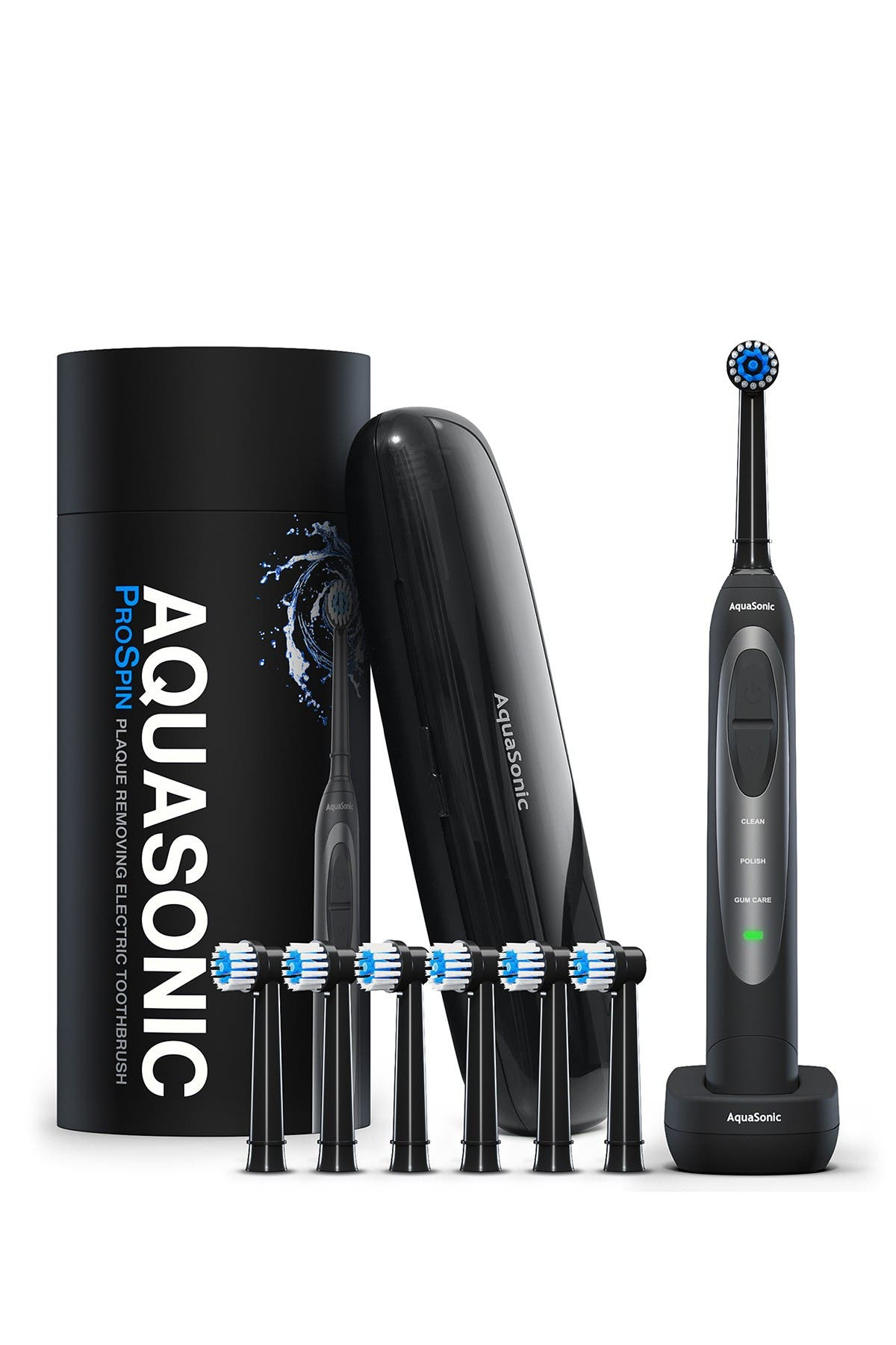 Image of AQUASONIC ProSpin Ultra Whitening & Plaque Removing Electric Toothbrush Set