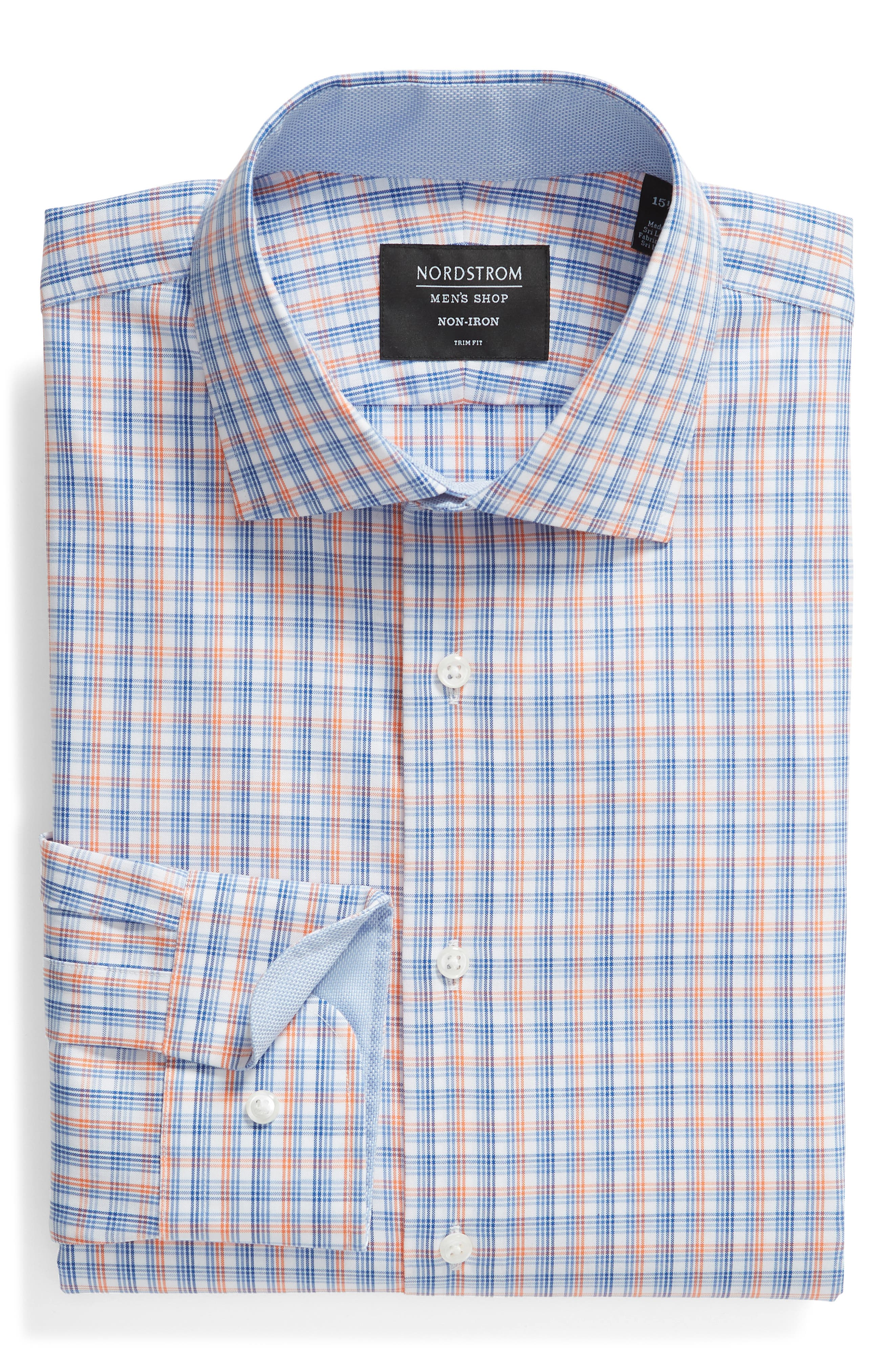 ,                             Trim Fit Non-Iron Plaid Dress Shirt,                             Alternate thumbnail 5, color,                             CORAL REEF