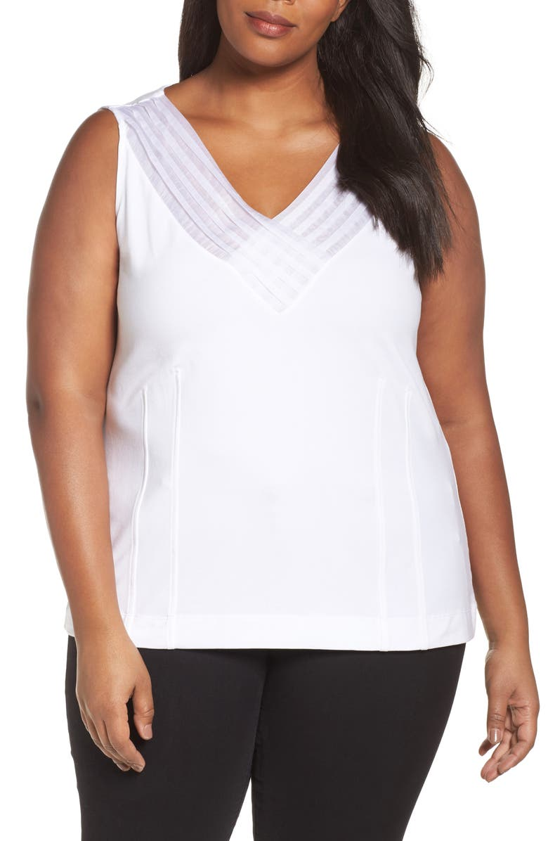 NIC+ZOE 'Sweet Pleat' Sleeveless Top, Main, color, PAPER WHITE