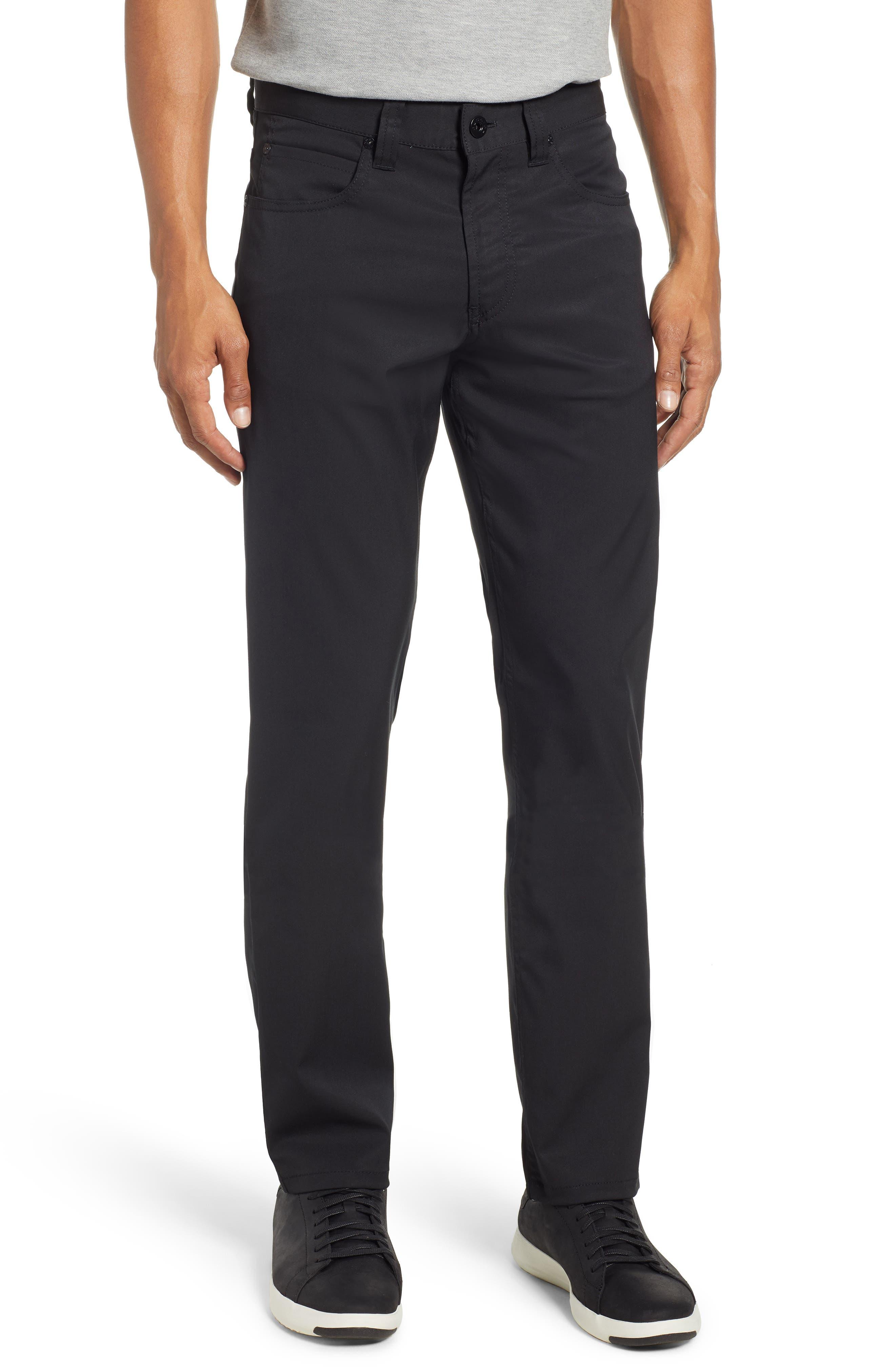 men's bugatchi flat front slim straight leg pants, size 42 - black