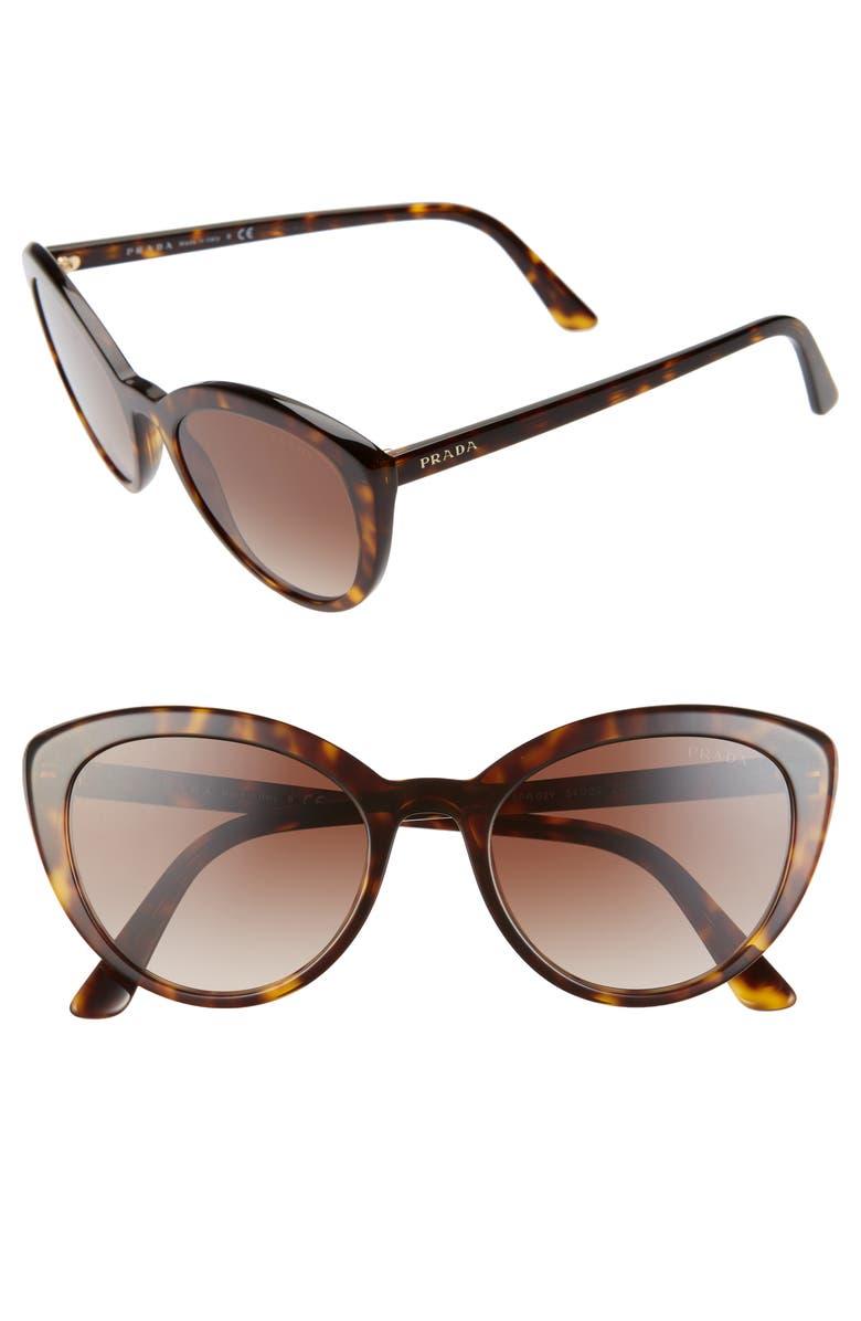 PRADA 54mm Cat Eye Sunglasses, Main, color, HAVANA/ BROWN GRADIENT