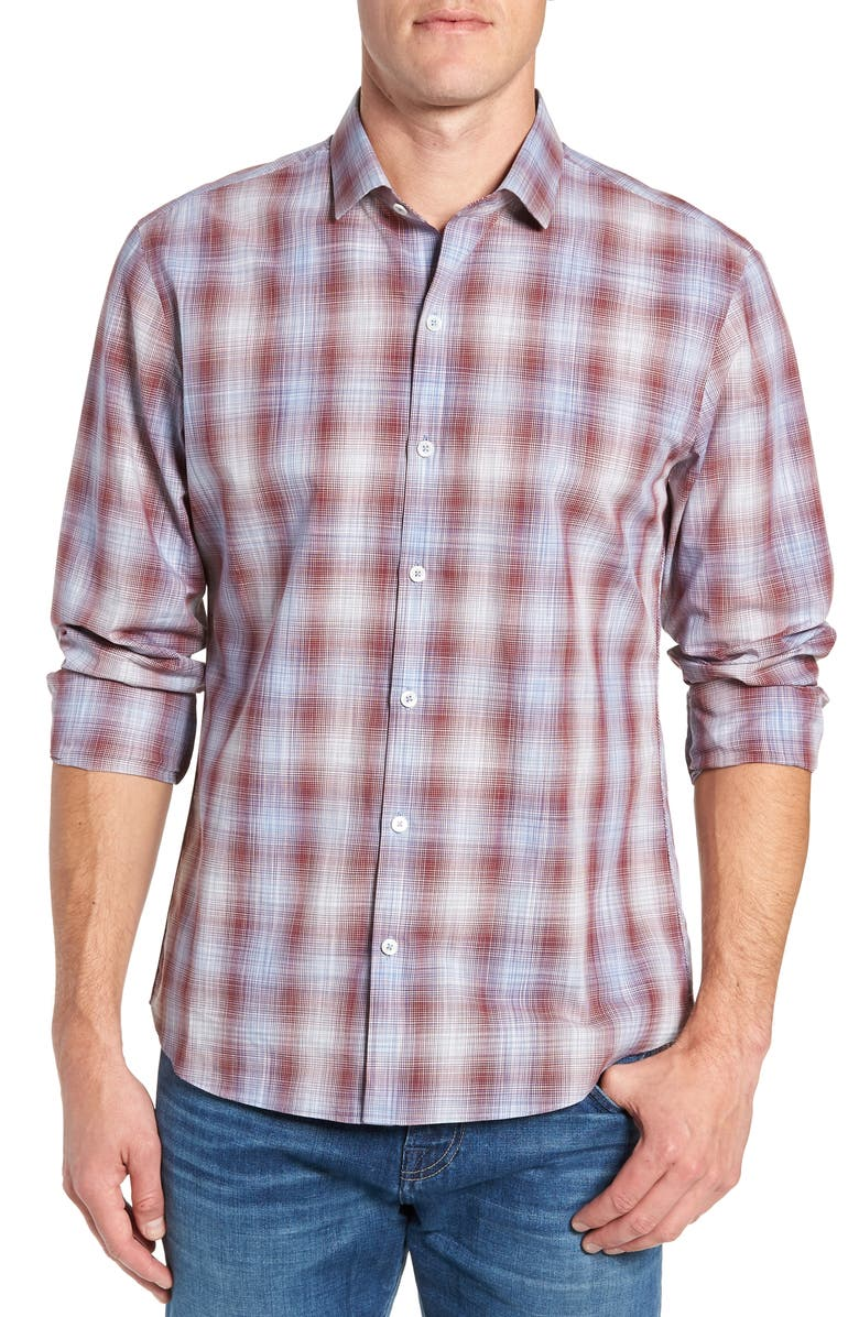 ZACHARY PRELL Cepeda Regular Fit Plaid Sport Shirt, Main, color, 611