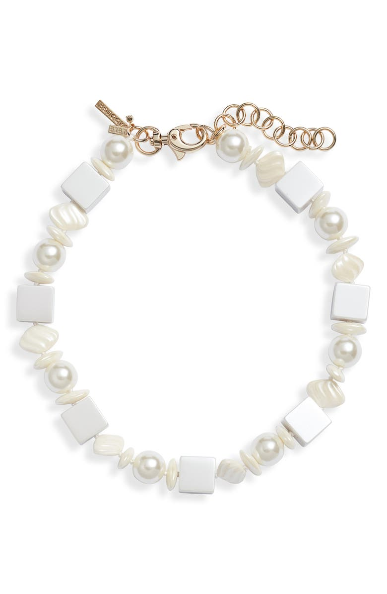 LELE SADOUGHI Stacked Stone Collar Necklace, Main, color, PEARL