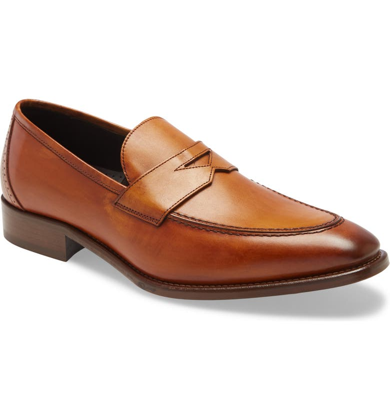JOHNSTON & MURPHY Cormac Penny Loafer, Main, color, TAN ITALIAN CALF