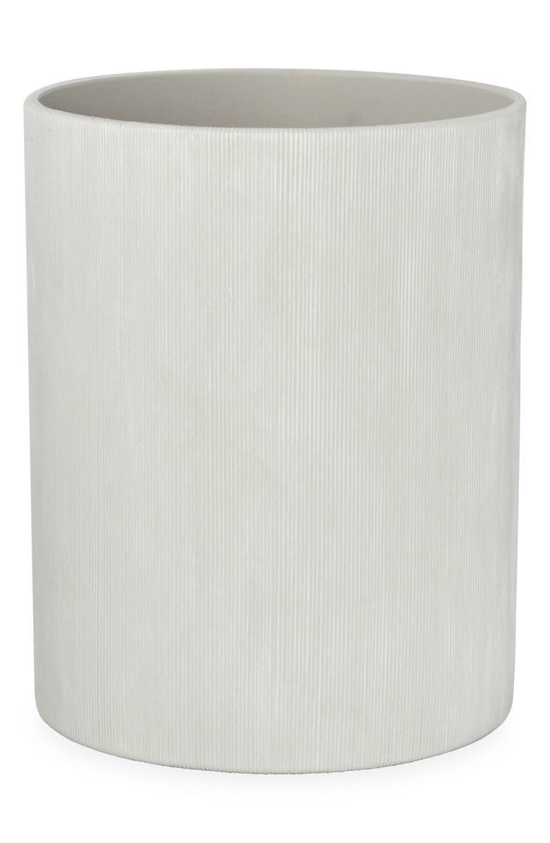 DKNY Fine Lines Ceramic Wastebasket, Main, color, WHITE