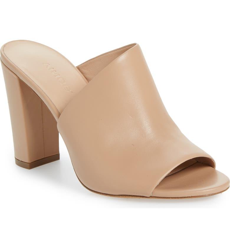 VINCE Hanna Block Heel Slide Sandal, Main, color, NUDE LEATHER