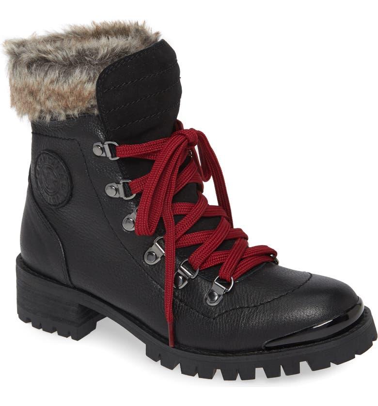 SANTANA CANADA Narni Water Resistant Winter Boot, Main, color, BLACK/ RED LEATHER