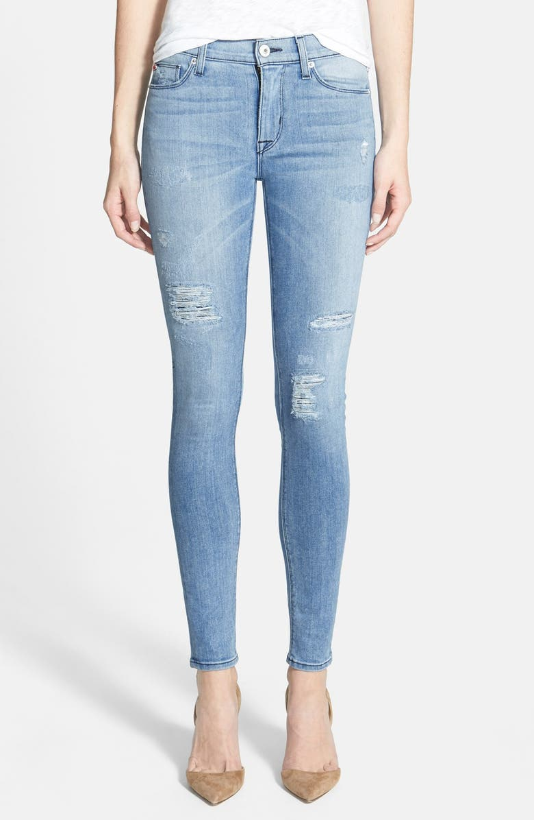 HUDSON JEANS 'Nico' Distressed Skinny Stretch Jeans, Main, color, 400