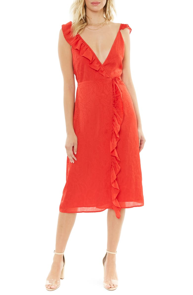 4SI3NNA Sleeveless Ruffle Wrap Dress, Main, color, 600