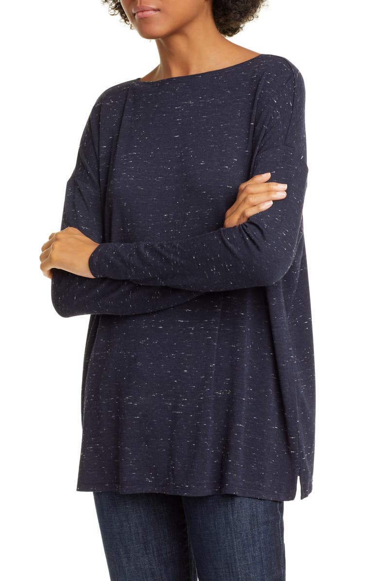 NORDSTROM SIGNATURE Dolman Sleeve Knit Top, Main, color, NAVY NIGHT- IVORY NEP