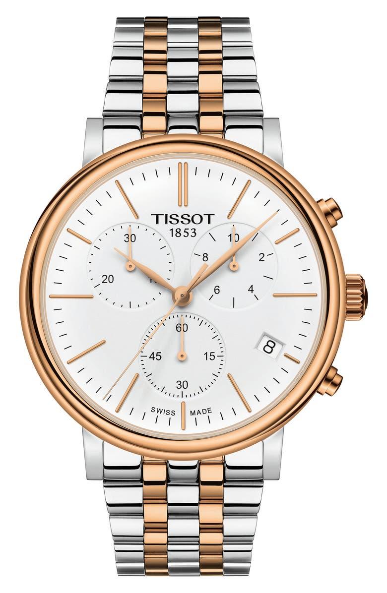 TISSOT Carson Premium Chronograph Bracelet Watch, 41mm, Main, color, 040