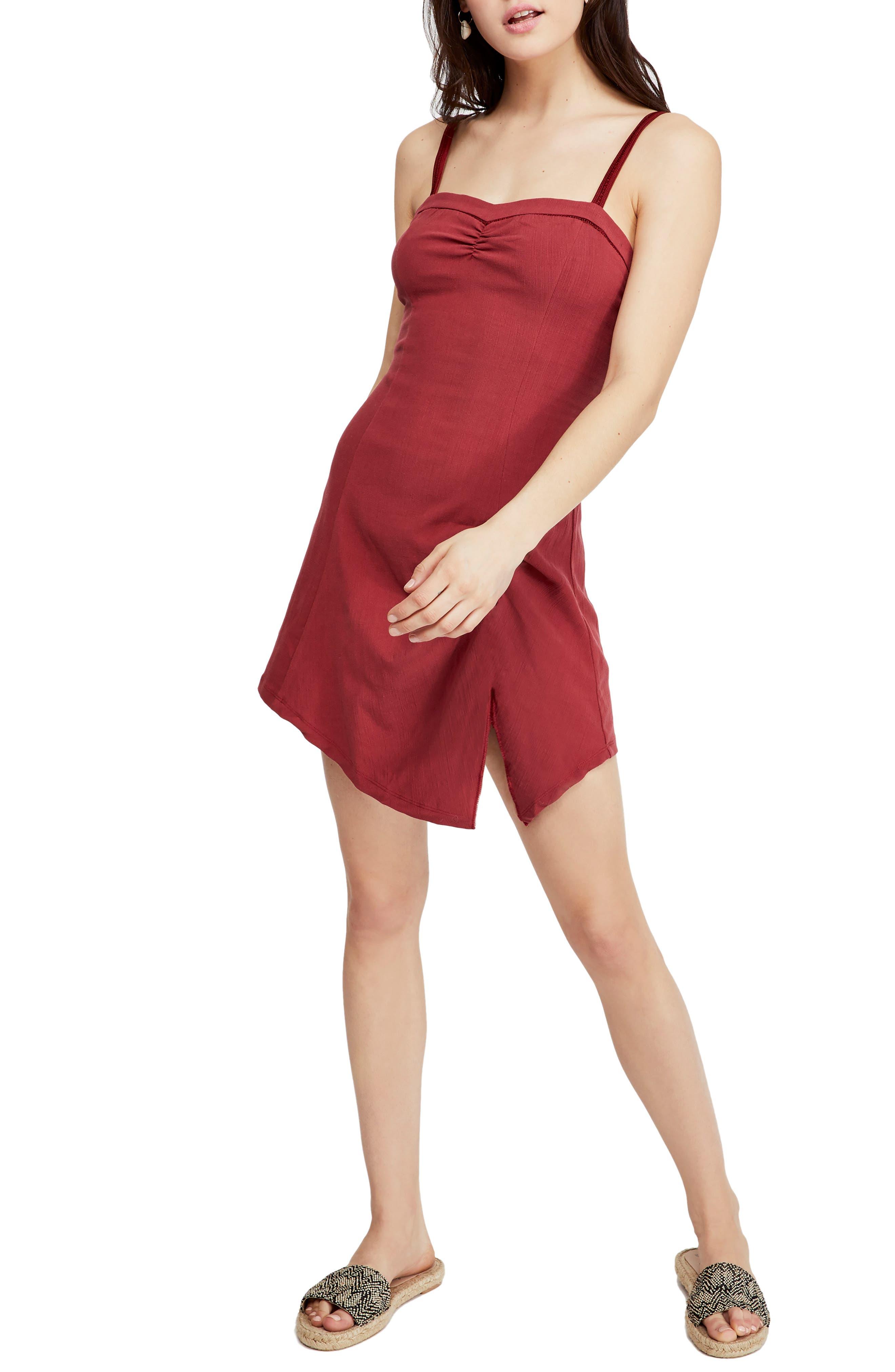 Free People Monroe Asymmetrical Minidress, Red