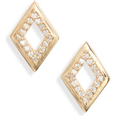 Anzie Cleo Rhombus Pave Diamond Stud Earrings