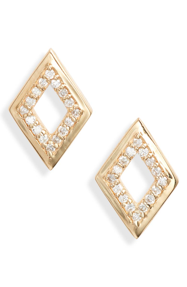 ANZIE Cleo Rhombus Pavé Diamond Stud Earrings, Main, color, GOLD/ DIAMOND