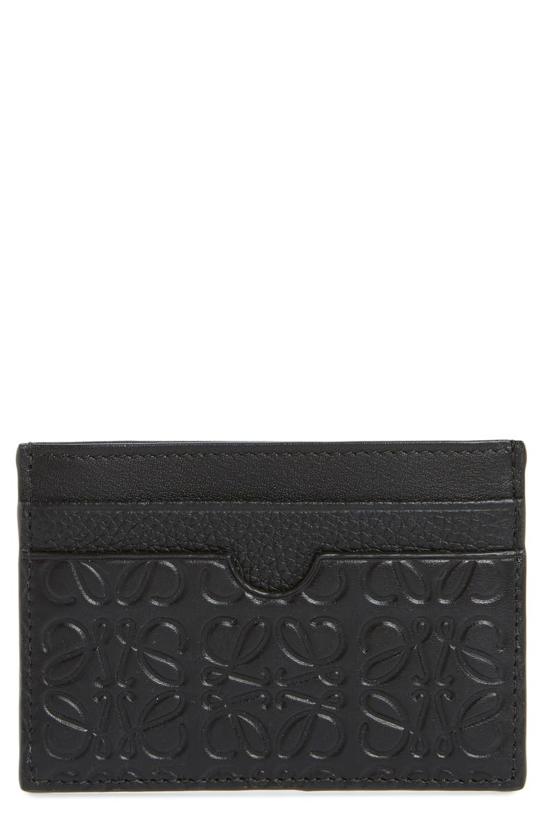 LOEWE Puzzle Leather Card Case, Main, color, BLACK