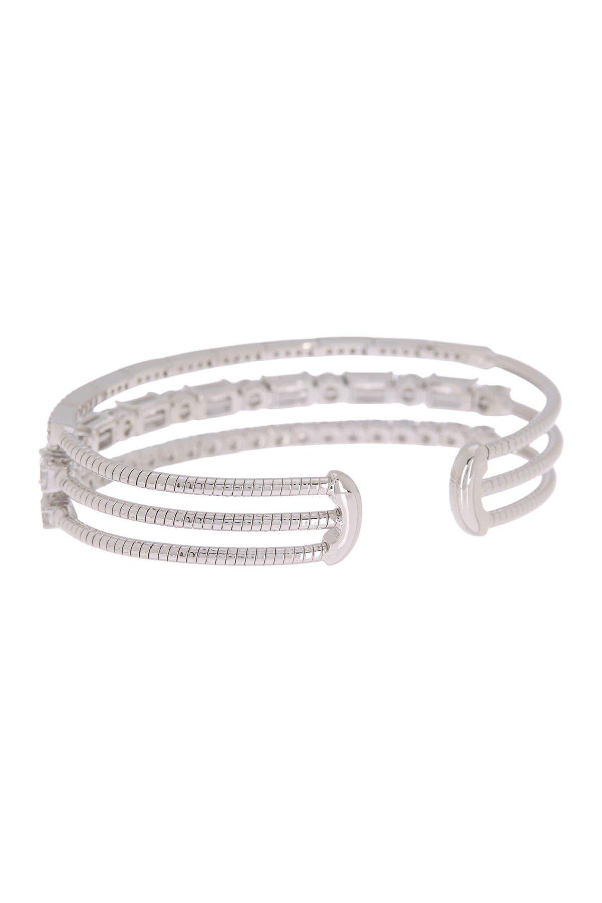Image of NADRI Rae Pave CZ 3-Row Flex Cuff Bracelet
