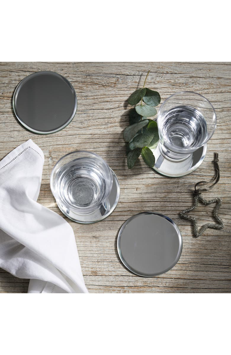 THE WHITE COMPANY Set of Four Mirrored Coasters, Main, color, SILVER