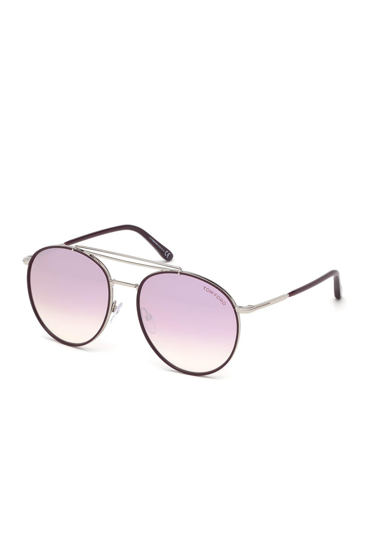 Image of Tom Ford Wesley 59mm Aviator Sunglasses