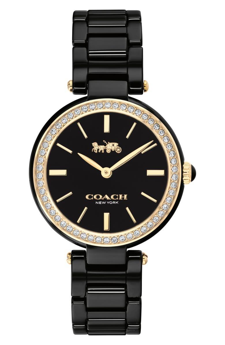COACH Park Ceramic Bracelet Watch, 30mm, Main, color, BLACK/ SILVER