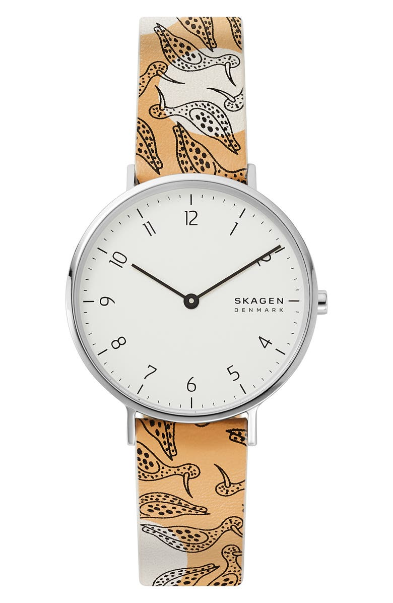 SKAGEN Aaren Bird Print Leather Strap Watch, 36mm, Main, color, ORANGE/ WHITE/ SILVER