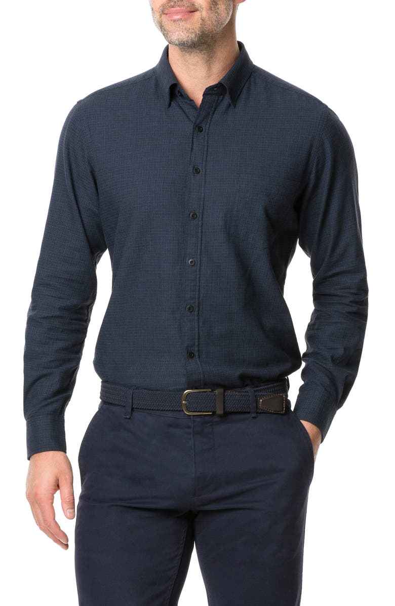 RODD & GUNN Young Road Check Button Front Shirt, Main, color, MIDNIGHT