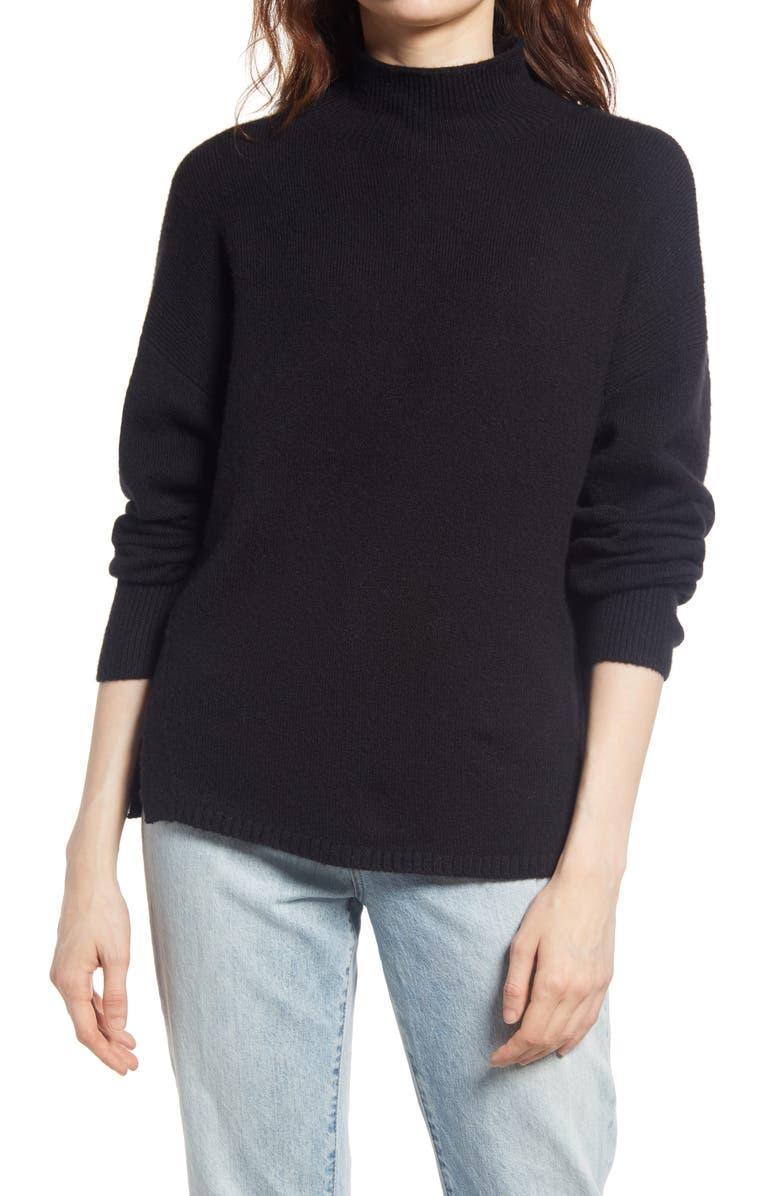 TREASURE & BOND Mock Neck Side Slit Sweater, Main, color, BLACK