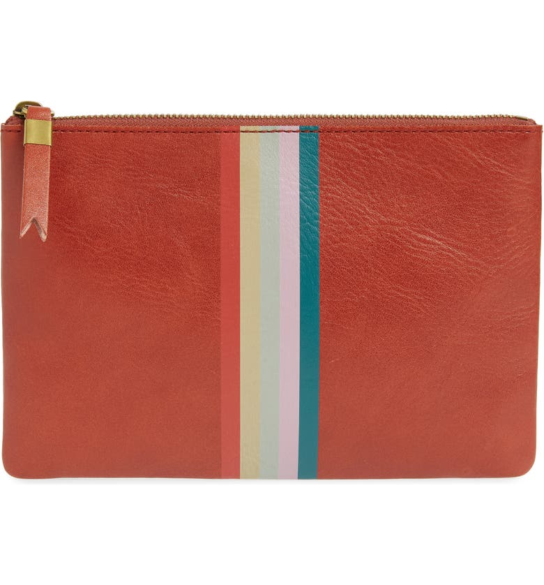 MADEWELL The Leather Pouch Clutch, Main, color, FADED RUST MULTI