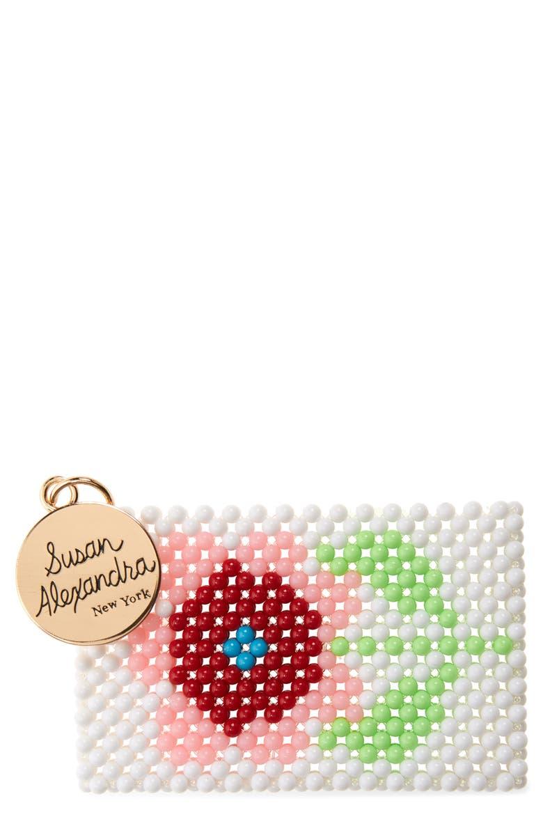 SUSAN ALEXANDRA Blossom Beaded Card Holder, Main, color, MULTI
