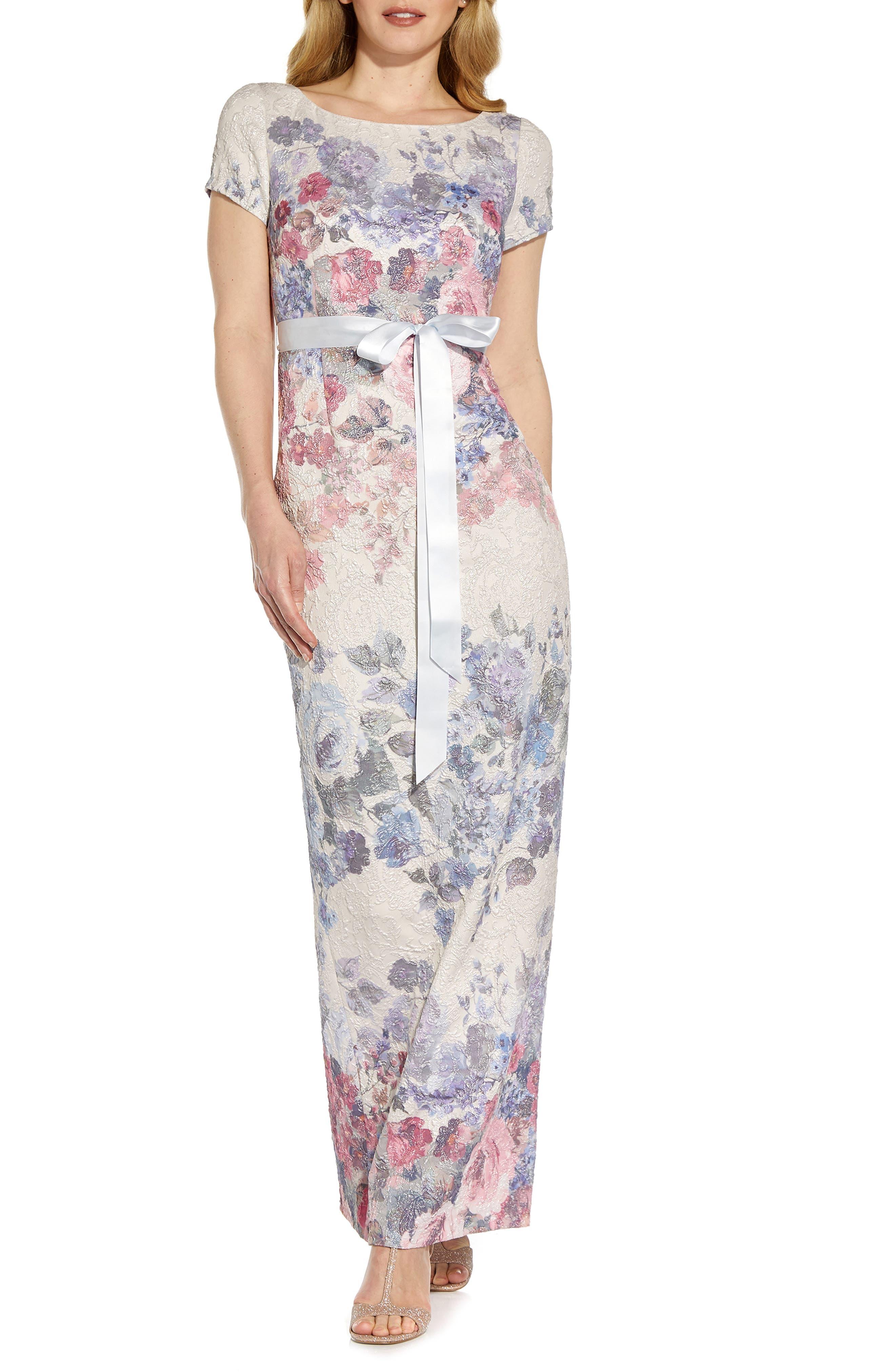 Metallic Floral Matelasse Column Gown