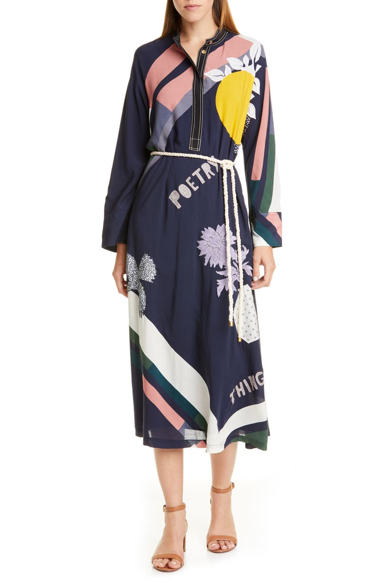 TORY BURCH Scarf Print Embroidered Long Sleeve Midi Dress with Rope Belt, Main, color, 400