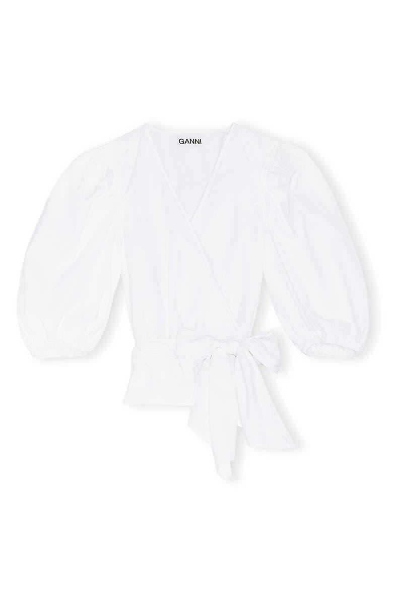 GANNI Organic Cotton Poplin Wrap Top, Main, color, BRIGHT WHITE