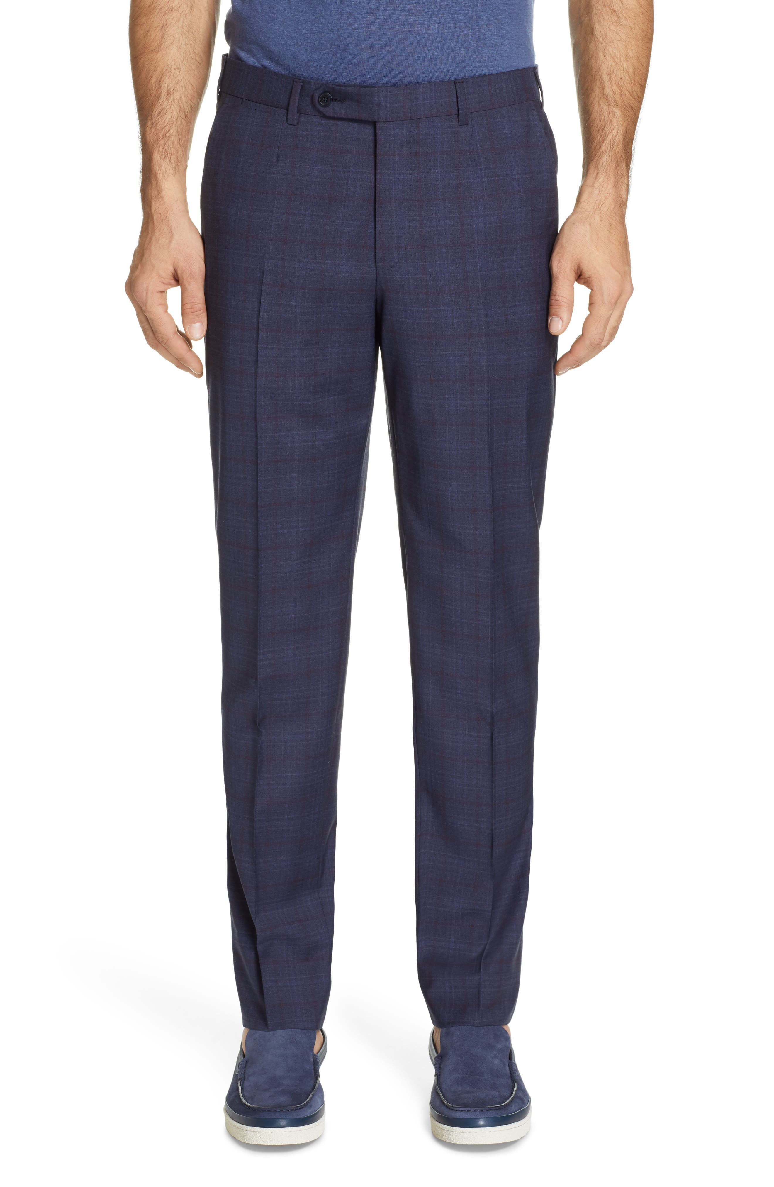 ,                             Milano Classic Fit Plaid Wool Suit,                             Alternate thumbnail 6, color,                             NAVY