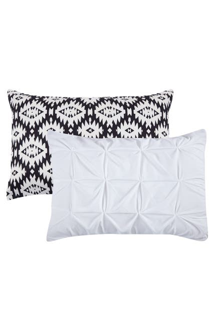 Image of Chic Home Bedding Queen Aera Pleated Pintuck and Printed Reversible with Elephant Embroidered Pillow Duvet Cover 4-Piece Set - White