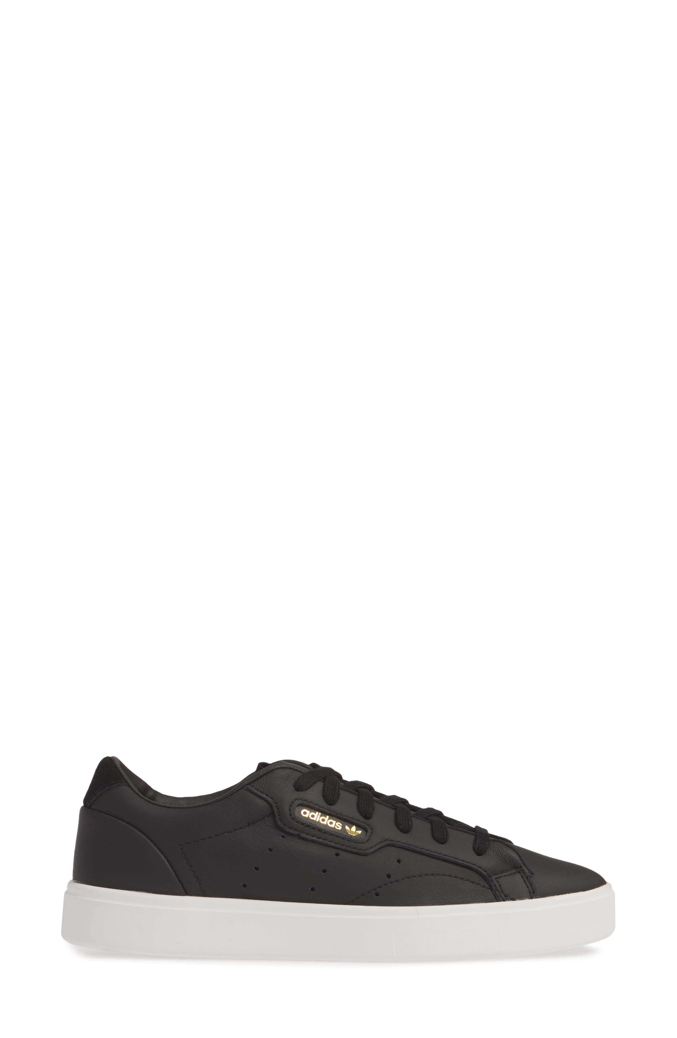 ,                             Sleek Leather Sneaker,                             Alternate thumbnail 3, color,                             CORE BLACK/ CRYSTAL WHITE