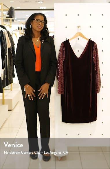 Long Sleeve V-Neck Velvet Cocktail Dress, sales video thumbnail