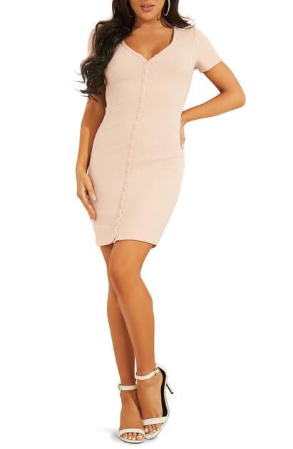 Guess Dresses RAYLYNN HENLEY RIB BODY-CON DRESS