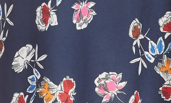 NAVY- RED FLORAL